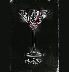 manhattan cocktail chalk color vector image