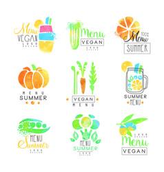vegan menu set for logo design collection of vector image