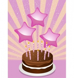 Birthday chocolate cake and balloons vector