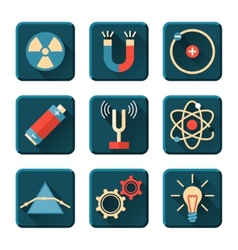 Physics icons in flat design style vector