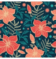 Vibrant tropical hibiscus flowers seamless vector