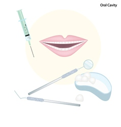 Set of dentist tools for oral cavity vector