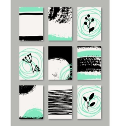 Hand drawn ink doodles abstract design cards set vector