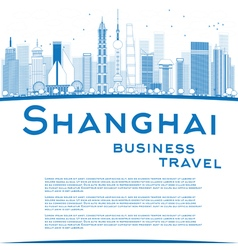 Outline shanghai skyline vector