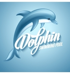Dolphin swimming pool sign template vector