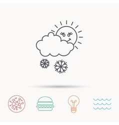 Snow with sun icon snowflakes and cloud sign vector
