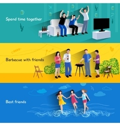 Friends buddies 3 horizontal banners set vector