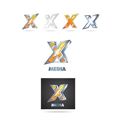 Letter x logo 3d icon vector