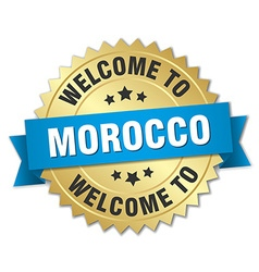 Morocco 3d gold badge with blue ribbon vector