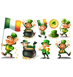 Leprechaun and gold in pot vector