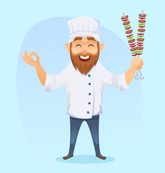 a of funny cartoon cook man vector image