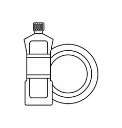 Bottle for dishwashing icon outline style vector