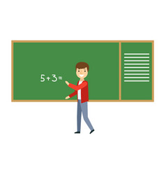 boy solving math problem on blackboard in vector image vector image
