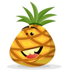 Cartoon happy pineapple character vector