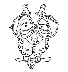 cartoon image of clever owl vector image
