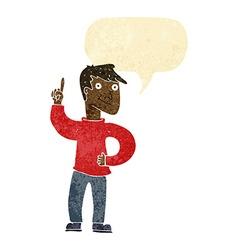 Cartoon man with great idea with speech bubble vector
