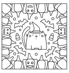 cat with pumpkins coloring page vector image vector image