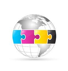 Cmyk world globe vector