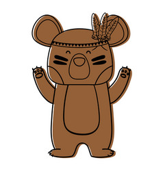 Color cute bear animal with feathers design vector