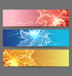 Colorful flower banners set vector