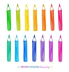 Colorful set of pencils vector image vector image