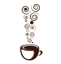 Cup of coffee or tea with floral design elements vector image vector image