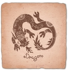 Dragon chinese zodiac sign horoscope vintage card vector