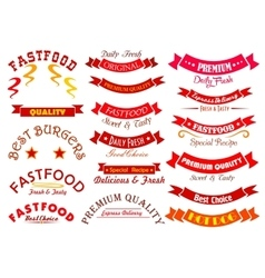 Fast food sign set with ribbon banner and header vector