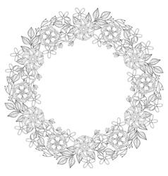 Floral zentangle doodles wreath in ornamental vector