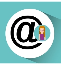 Girl with glasses mail sign design vector