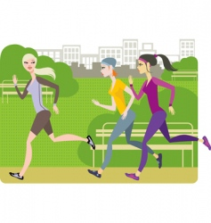 girls jogging vector image
