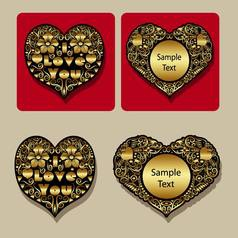Golden heart floral ornament icons vector image