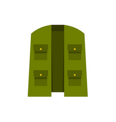 Green hunter vest icon flat style vector