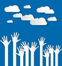 Hands - Paper Cut Palm Hands Set on Blue Sky vector image vector image