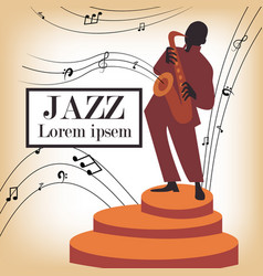 Jazz band with singer saxophone vector