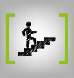 Man on stairs going up black scribble vector
