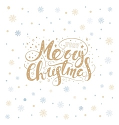 Merry christmas lettering over with snowflakes vector image vector image