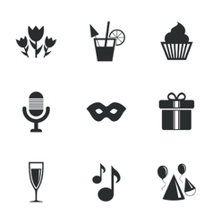 Party celebration birthday icons cocktail vector