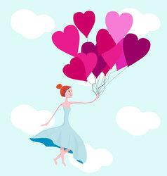 Princess and baloons vector