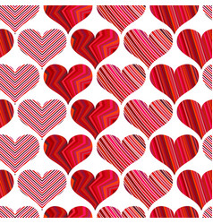 seamless pattern with red hearts different red vector image