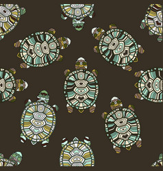 Seamless pattern with turtles vector