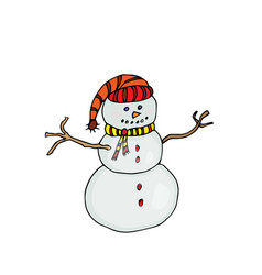snow man colored on white vector image