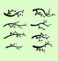 Stylized black tree branch silhouettes vector