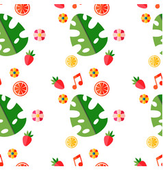 summer tropical pattern with fruits and leaves vector image