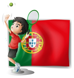 The flag of Portugal at the back of a tennis vector image