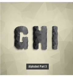 triangular dark alphabet G H I vector image