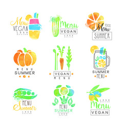 vegan menu set for logo design collection of vector image