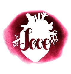Watercolor love lettering and heart vector