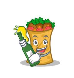 with beer kebab wrap character cartoon vector image vector image