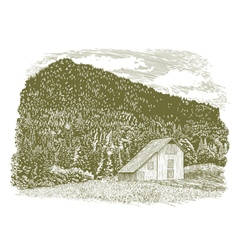 Woodcut idaho barn vector